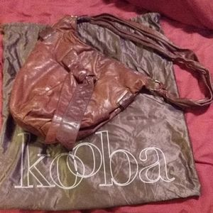 Kooba brown large leather hobo bag
